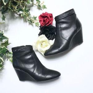 Loeffler Randall Black Leather Wedge Booties - 7.5